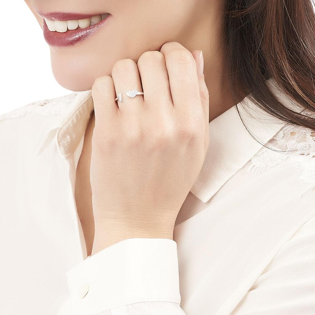 Bague Tiama Argent Blanc Oxyde De Zirconium - Bagues avec pierre Femme   Histoire d'Or
