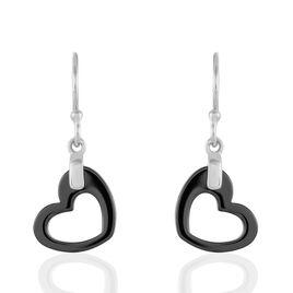 Boucles D'oreilles Pendantes Alena Argent Céramique Et Oxyde - Boucles d'Oreilles Coeur Femme | Histoire d'Or