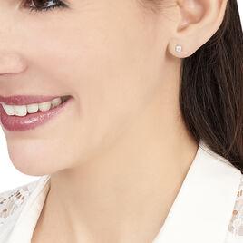 Boucles D'oreilles Puces Daria Serti Clos Or Blanc Oxyde De Zirconium - Clous d'oreilles Femme | Histoire d'Or