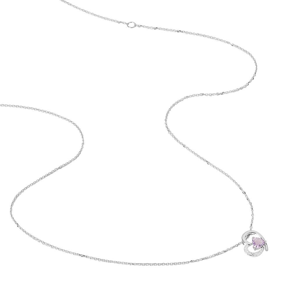 Collier Eliana Or Blanc Amethyste Et Diamant -  Femme | Histoire d'Or