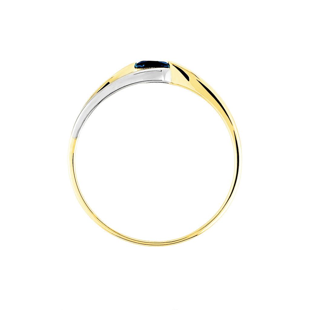 Bague Sylvene Or Bicolore Saphir - Bagues solitaires Femme   Histoire d'Or