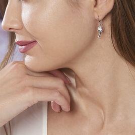 Boucles D'oreilles Pendantes Loona Argent Blanc - Boucles d'oreilles fantaisie Femme   Histoire d'Or