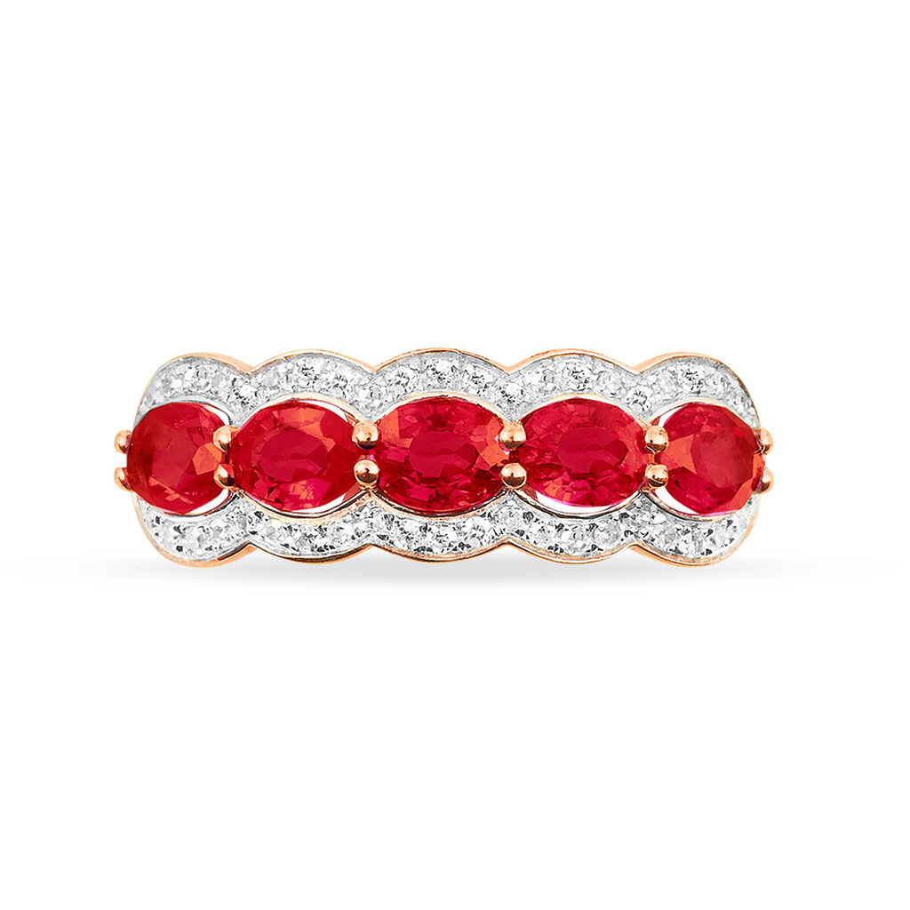 Bague Margaux Or Rose Rubis Et Diamant - Bagues avec pierre Femme | Histoire d'Or