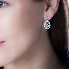 Boucles D'oreilles Pendantes Cesarita Argent Blanc Oxyde De Zirconium - Boucles d'Oreilles Plume Femme   Histoire d'Or