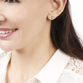 Boucles D'oreilles Puces Elda Serti Clos Or Rose Oxyde De Zirconium - Clous d'oreilles Femme | Histoire d'Or