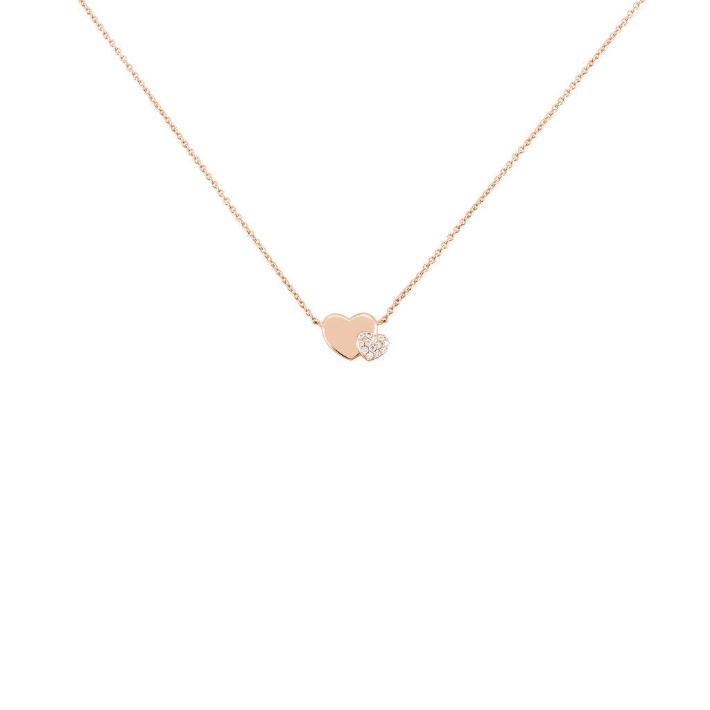 Collier Flamen Argent Rose Oxyde De Zirconium - Colliers Coeur Femme   Histoire d'Or