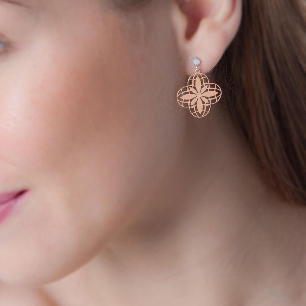Boucles D'oreilles Pendantes Itala Argent Bicolore - Boucles d'Oreilles Croix Femme   Histoire d'Or
