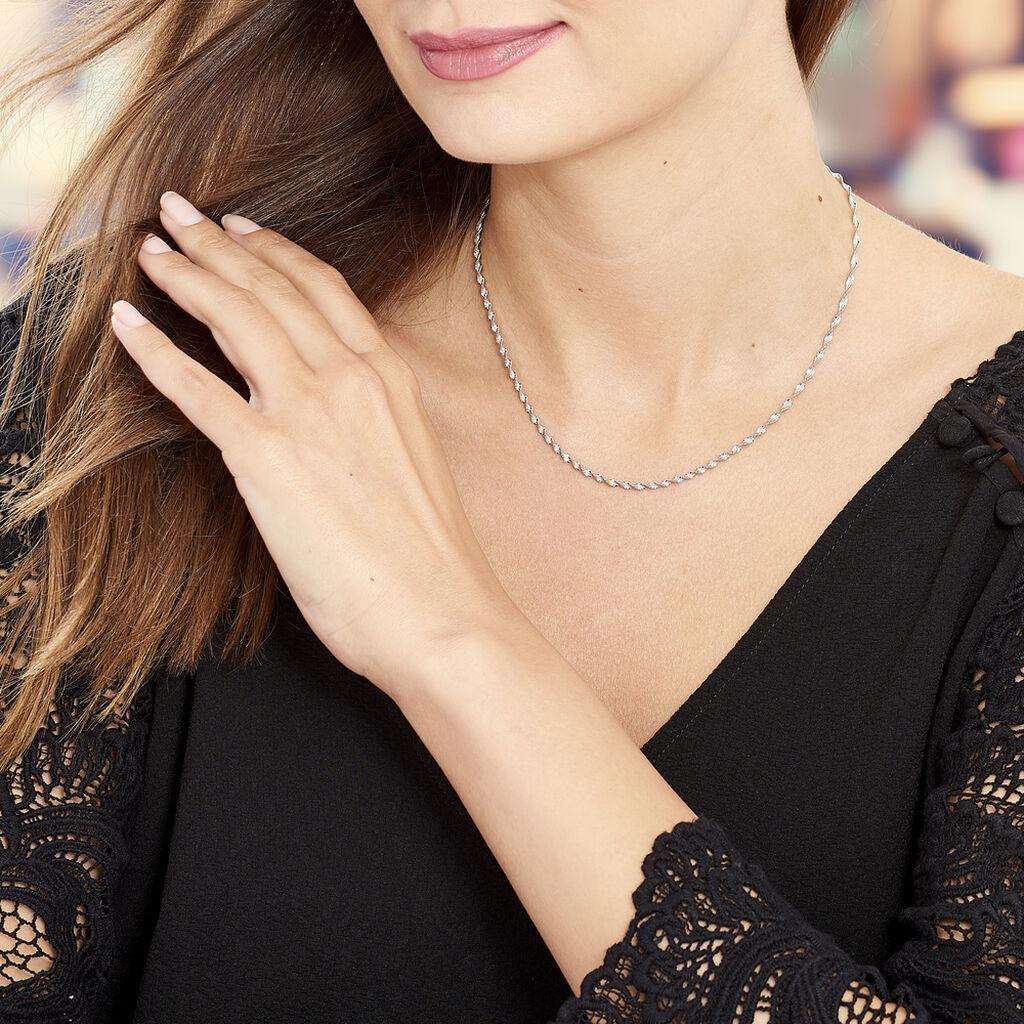 Collier Ciana Torsade Diamante Argent Blanc - Chaines Femme   Histoire d'Or