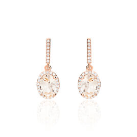 Boucles D'oreilles Pendantes Or Rose Morganite Et Diamant - Boucles d'oreilles pendantes Femme | Histoire d'Or
