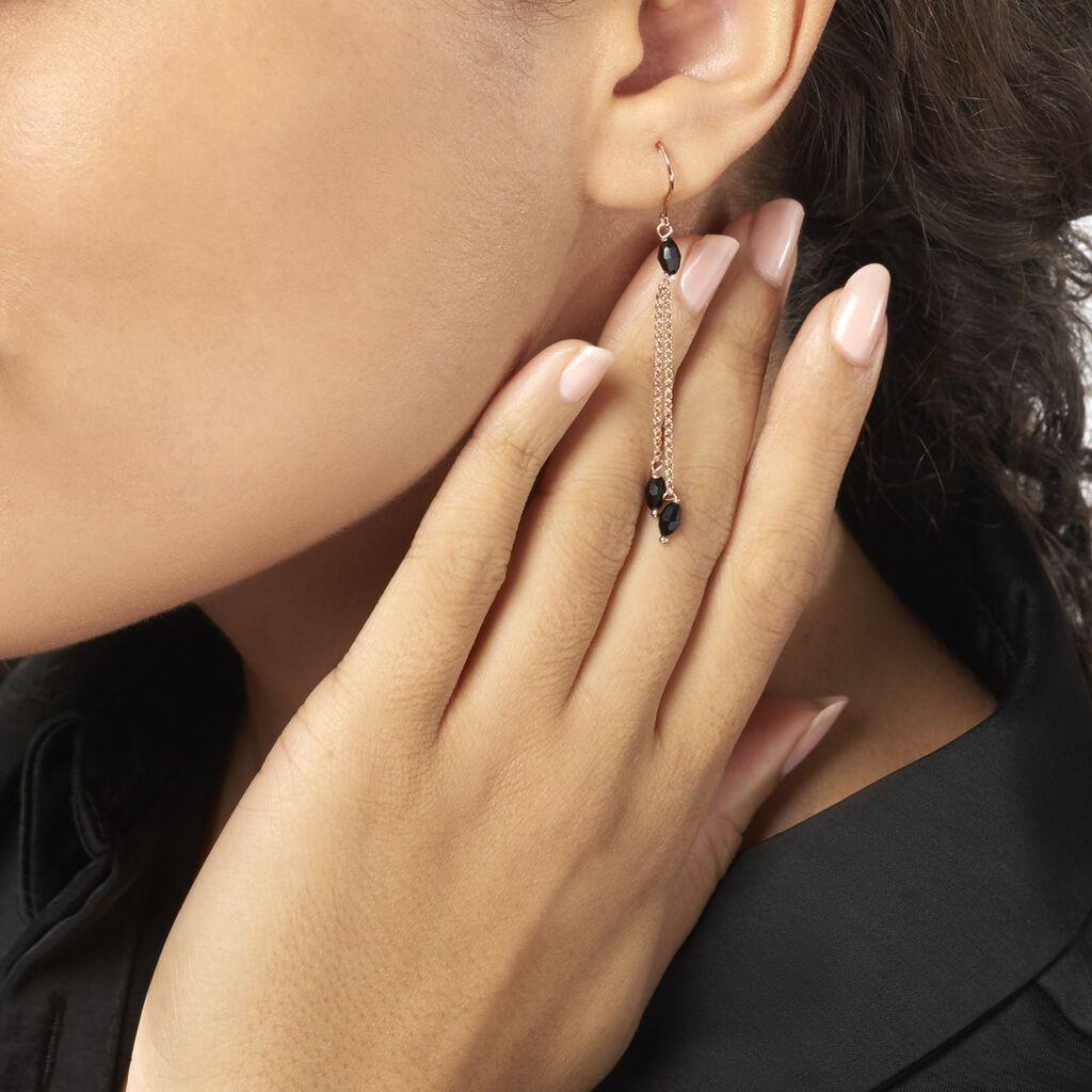 Boucles D'oreilles Pendantes Cais Argent Rose Pierre De Synthese - Boucles d'oreilles fantaisie Femme | Histoire d'Or
