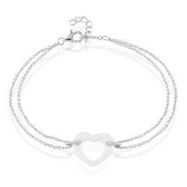 Bracelet Vivianne Argent Blanc Oxyde De Zirconium Et Céramique - Bracelets Coeur Femme   Histoire d'Or