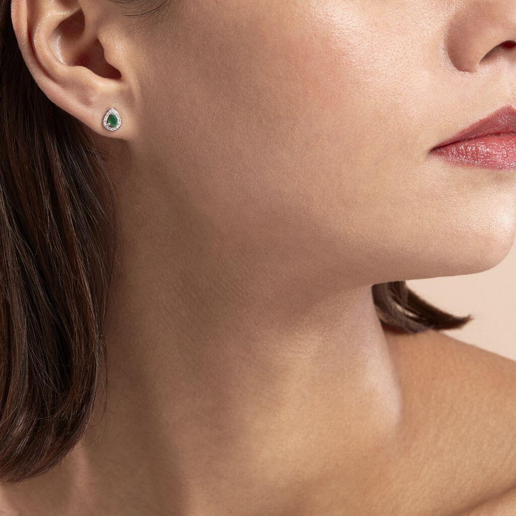 Boucles D'oreilles Puces Elheme Or Blanc Emeraude Et Diamant - Clous d'oreilles Femme   Histoire d'Or