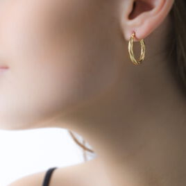 Créoles Ananas Fil Rond Or Jaune - Boucles d'oreilles créoles Femme   Histoire d'Or