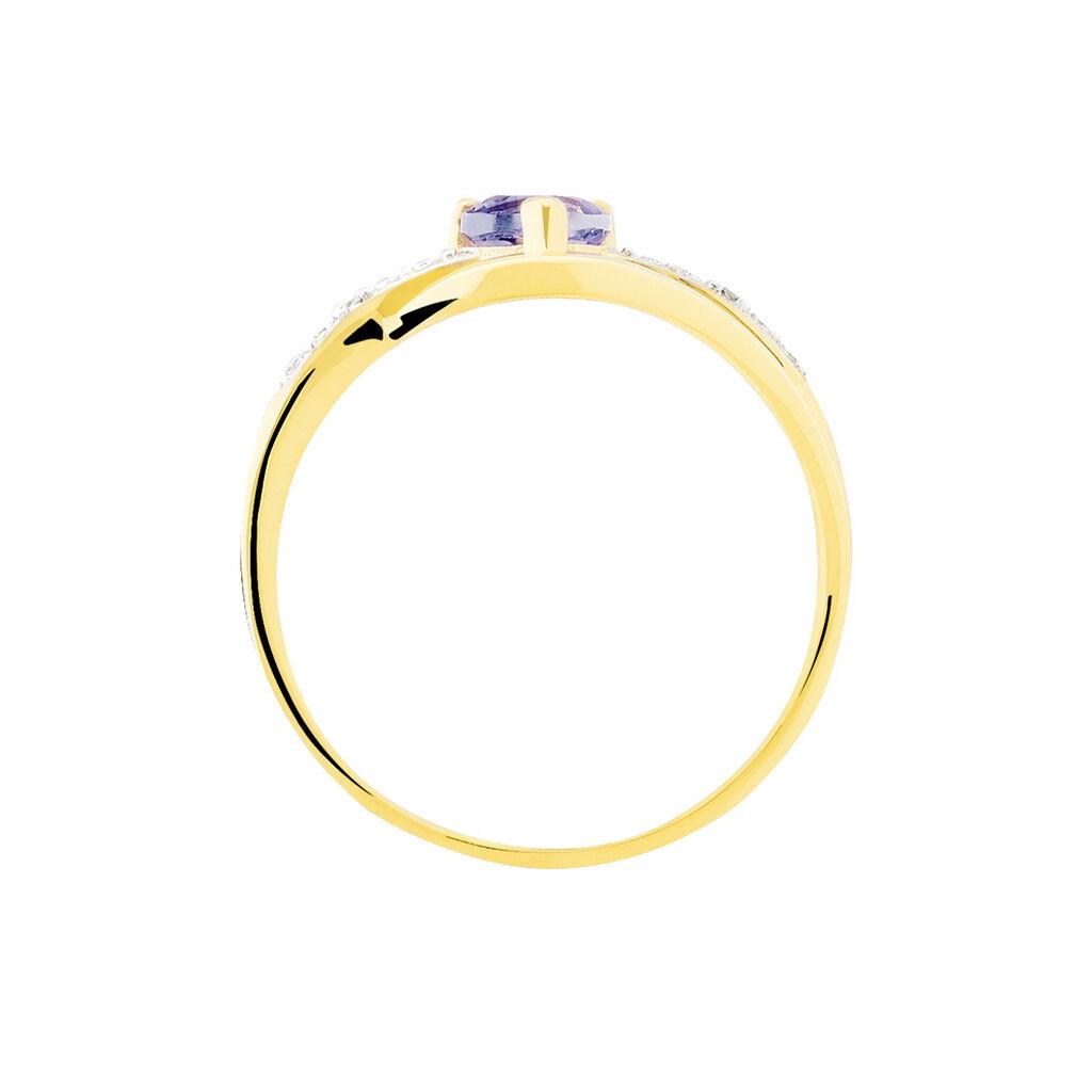 Bague Silucia Or Jaune Amethyste Et Diamant - Bagues Coeur Femme   Histoire d'Or
