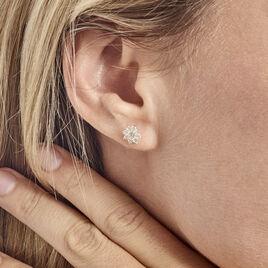 Boucles D'oreilles Or Jaune Verdiane Oxydes - Boucles d'Oreilles Trèfle Femme | Histoire d'Or