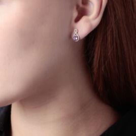 Boucles D'oreilles Pendantes Passion Or Jaune Amethyste Et Oxyde - Boucles d'oreilles pendantes Femme   Histoire d'Or
