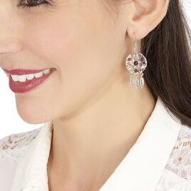Boucles D'oreilles Pendantes Lorena Argent Blanc Ambre - Boucles d'Oreilles Attrape rêves Femme | Histoire d'Or