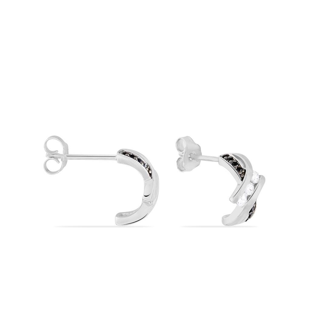 Créoles Clemenca Rondes Argent Blanc Oxyde De Zirconium - Boucles d'oreilles créoles Femme   Histoire d'Or