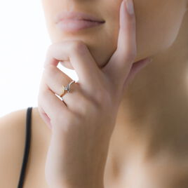 Bague Solitaire Ascagne Or Bicolore Oxyde De Zirconium - Bagues solitaires Femme | Histoire d'Or
