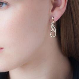 Boucles D'oreilles Pendantes Rajah Plaque Or Jaune Oxyde De Zirconium - Boucles d'oreilles pendantes Femme   Histoire d'Or