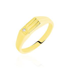 Chevaliere Or Jaune rectangle Diamant - Chevalières Famille   Histoire d'Or
