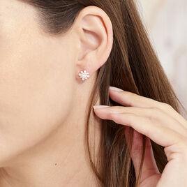 Boucles D'oreilles Puces Lorraine Argent Rose Oxyde De Zirconium - Boucles d'oreilles fantaisie Femme   Histoire d'Or