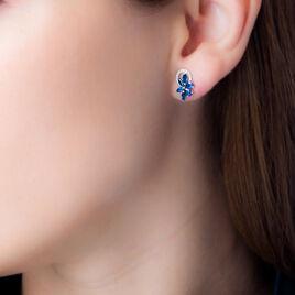 Boucles D'oreilles Puces Bouquet Or Blanc Saphir Et Diamant - Clous d'oreilles Femme | Histoire d'Or