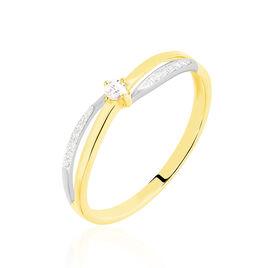 Bague Or Bicolore Selene Diamant - Bagues solitaires Femme | Histoire d'Or