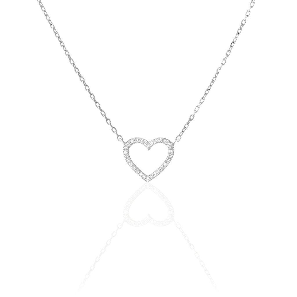 Collier Sloanne Or Blanc Diamant - Colliers Coeur Femme | Histoire d'Or