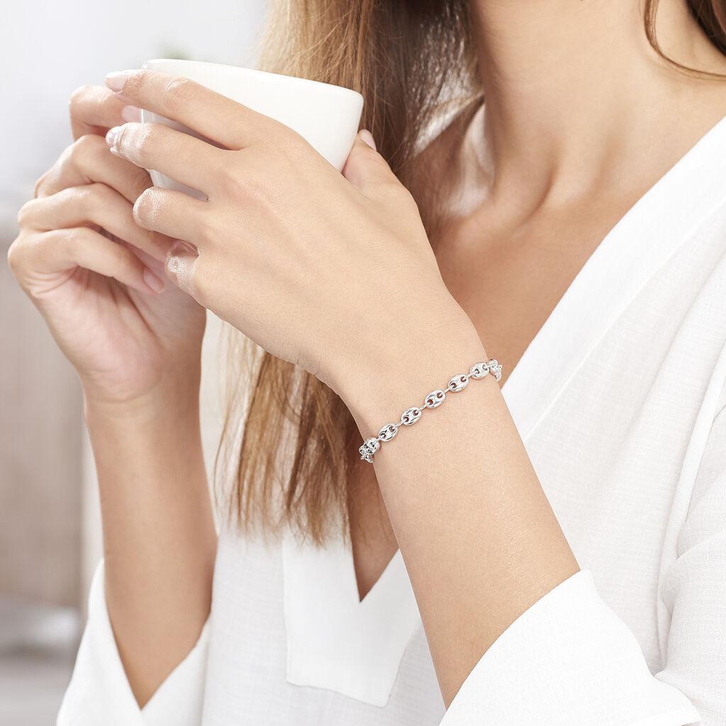 Bracelet Carmen Maille Grain De Cafe Argent Blanc - Bracelets chaîne Femme | Histoire d'Or