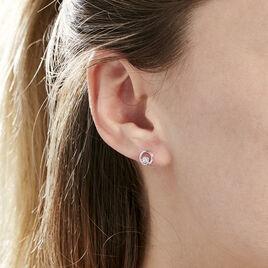 Boucles D'oreilles Puces Fidelia Or Blanc Diamant - Clous d'oreilles Femme | Histoire d'Or