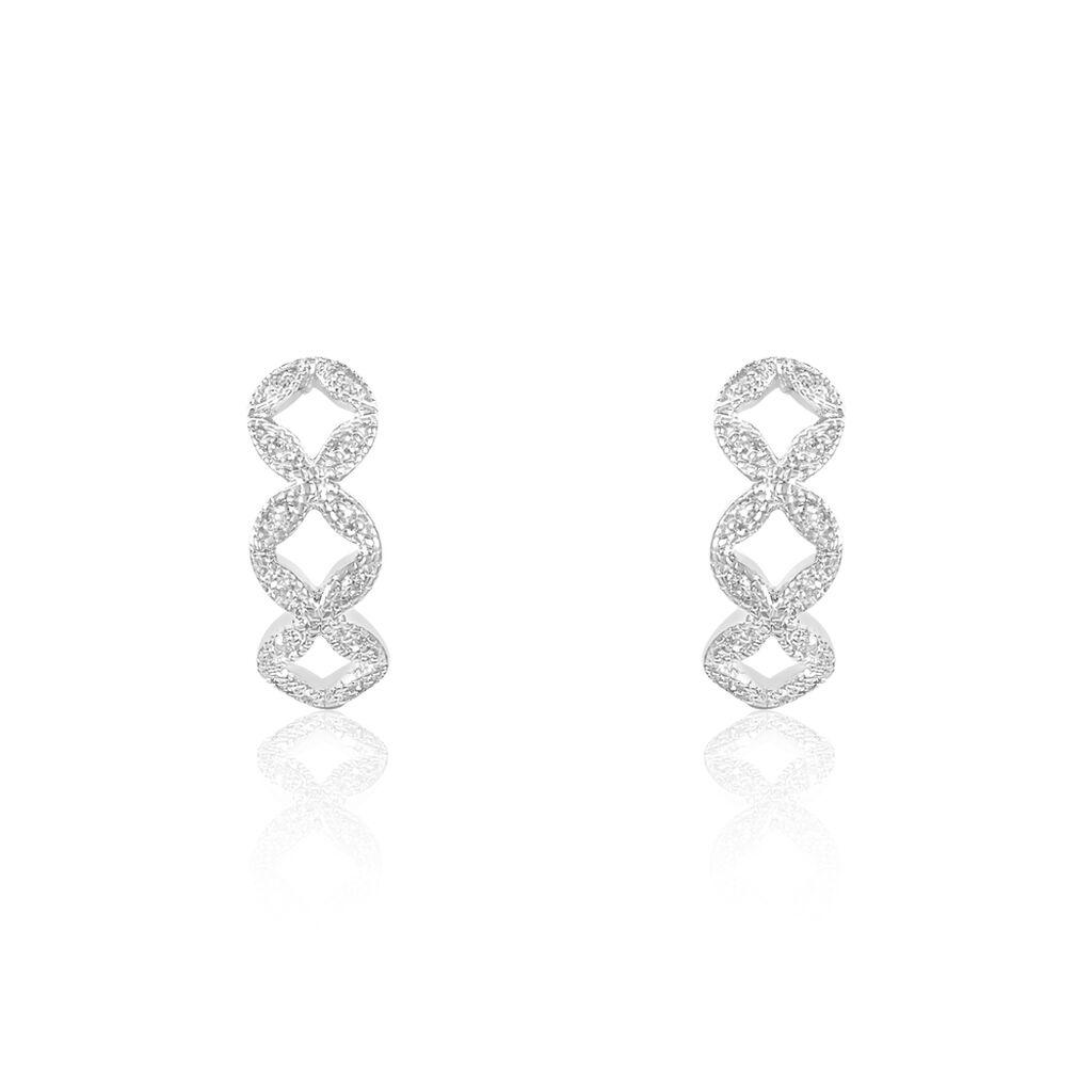 Créoles Luciana Or Blanc Diamant - Boucles d'Oreilles Trèfle Femme | Histoire d'Or