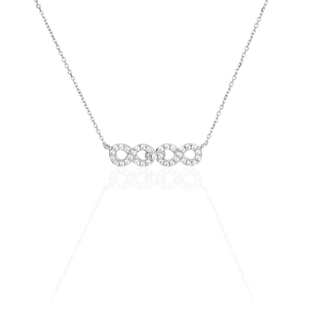 Collier Or Blanc Oxyde De Zirconium - Colliers Infini Femme   Histoire d'Or