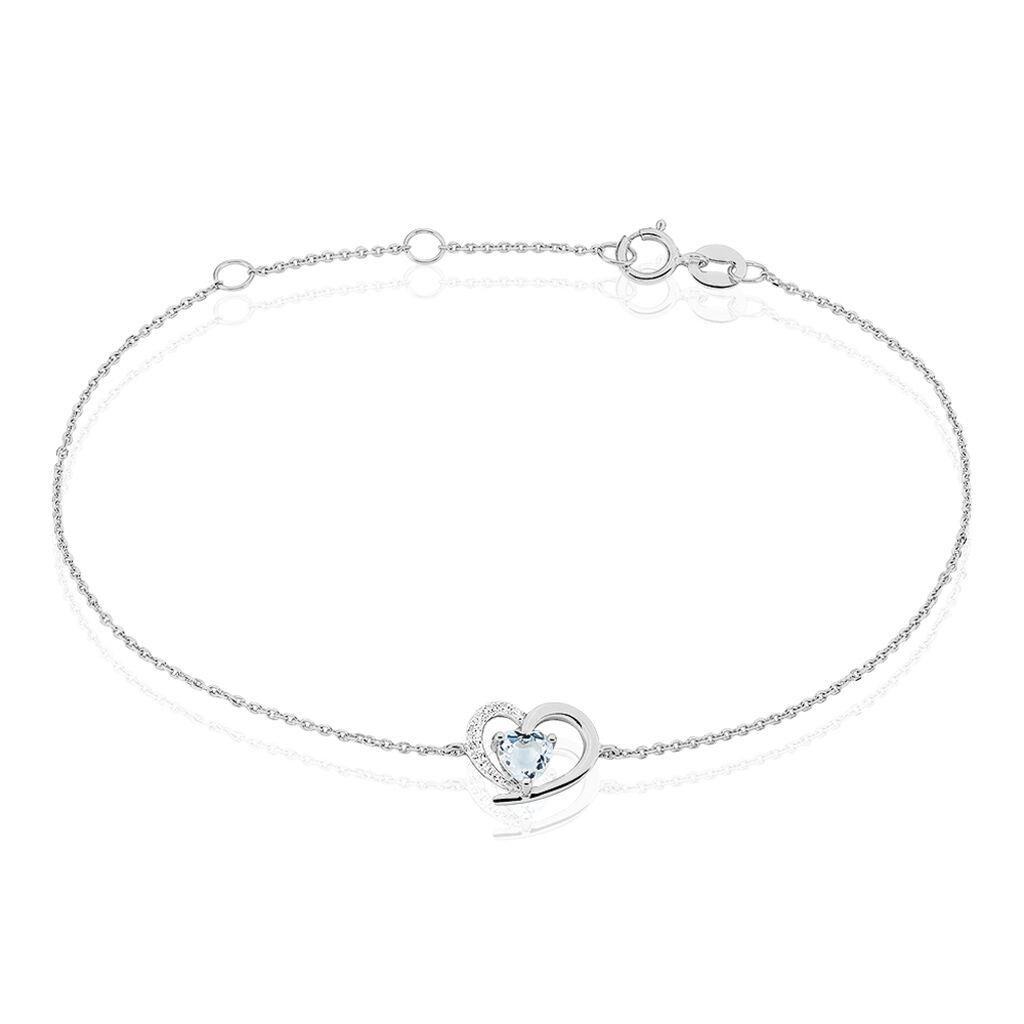 Bracelet Eliana Or Blanc Topaze Et Diamant - Bracelets Coeur Femme | Histoire d'Or