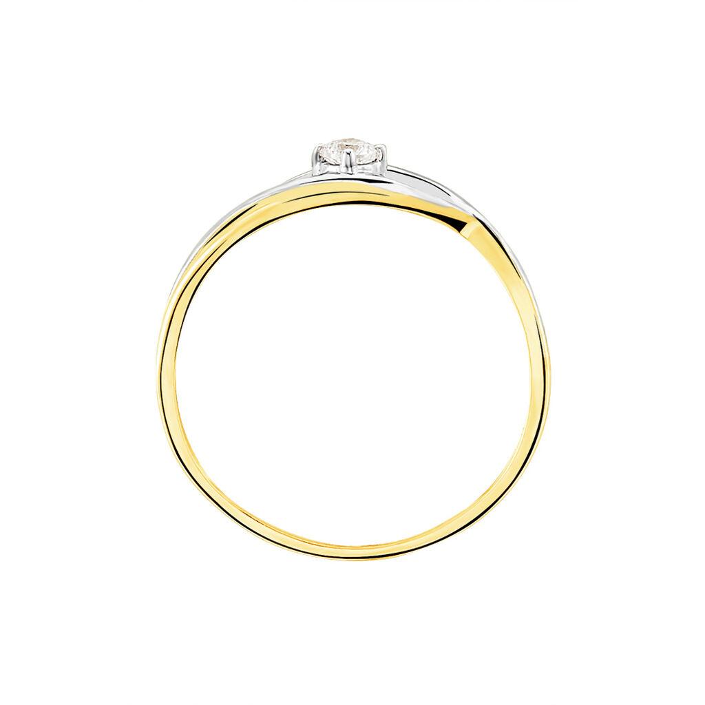Bague Solitaire Peline Or Bicolore Oxyde De Zirconium - Bagues solitaires Femme   Histoire d'Or