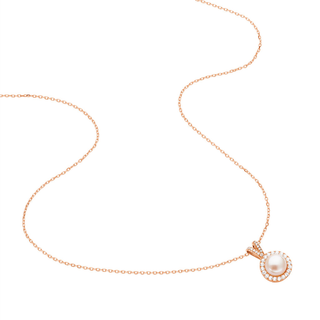 Collier Olivia Argent Rose Perle De Culture Et Oxyde De Zirconium - Colliers fantaisie Femme   Histoire d'Or