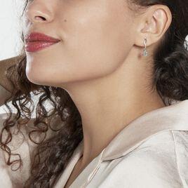 Boucles D'oreilles Pendantes Assaf Or Blanc Topaze Et Oxyde - Boucles d'oreilles pendantes Femme | Histoire d'Or