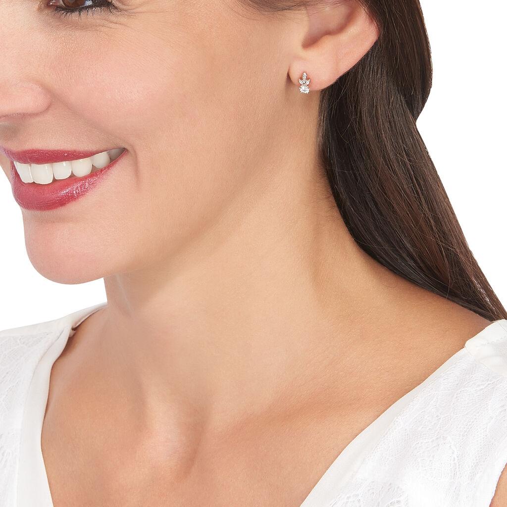 Boucles D'oreilles Pendantes Alicea Or Rose Diamant - Boucles d'oreilles pendantes Femme | Histoire d'Or