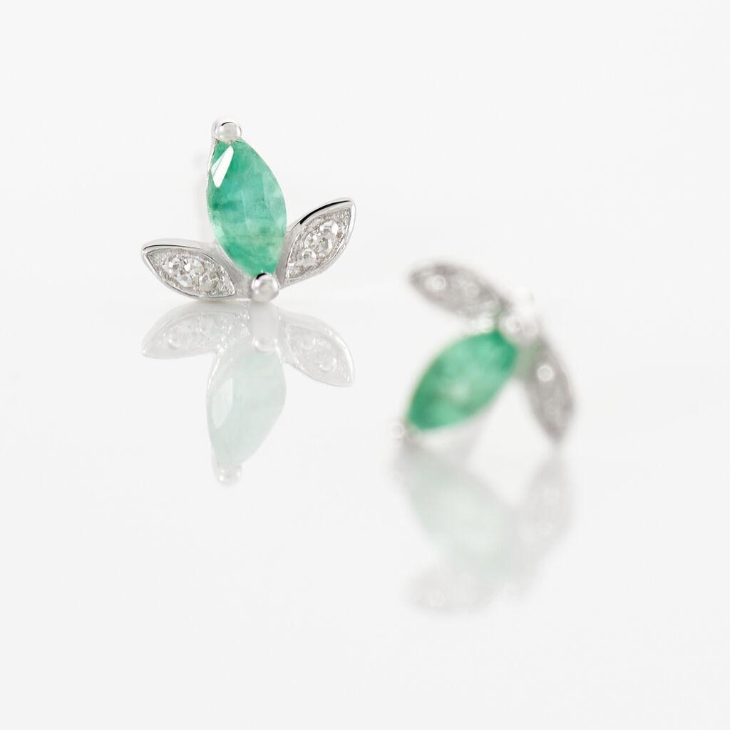 Boucles D'oreilles Puces Or Blanc Febe Emeraude Diamant - Clous d'oreilles Femme   Histoire d'Or