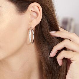 Créoles Ava Bords Diamantés Argent Blanc - Boucles d'oreilles créoles Femme | Histoire d'Or