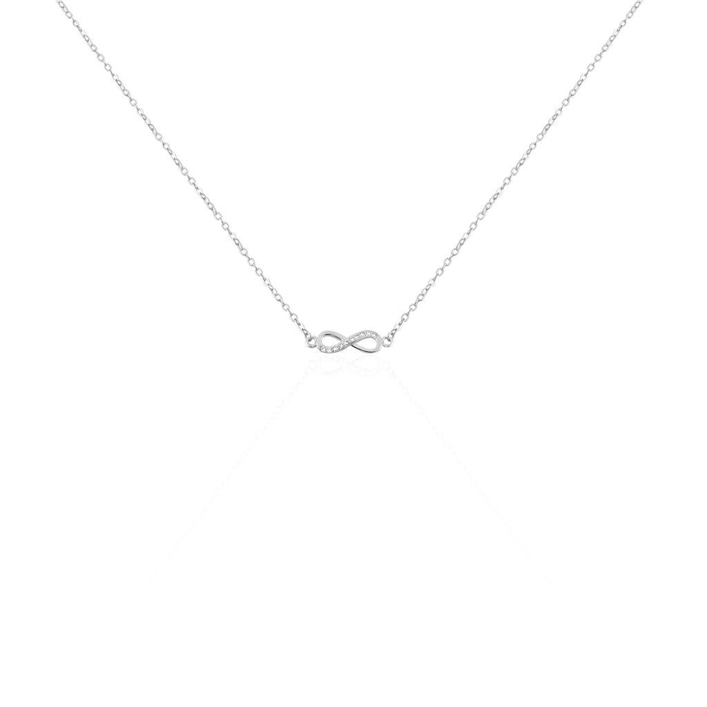 Collier Immortelle Argent Blanc Oxyde De Zirconium - Colliers Infini Femme   Histoire d'Or