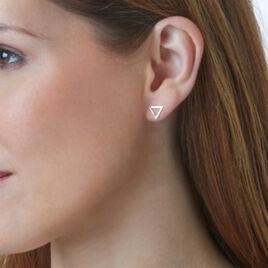 Boucles D'oreilles Puces Emmana Or Blanc Diamant - Clous d'oreilles Femme   Histoire d'Or