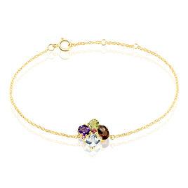 Bracelet Or Jaune Amethyste Et Quartz Et Péridot - Bijoux Femme   Histoire d'Or
