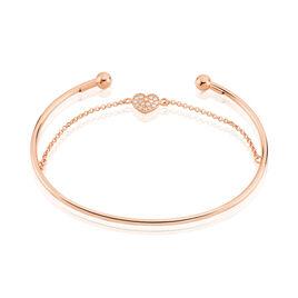 Bracelet Jonc Habibatou Argent Rose Oxyde De Zirconium - Bracelets Coeur Femme   Histoire d'Or