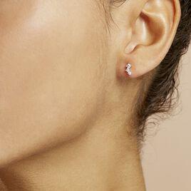 Boucles D'oreilles Puces Kyoto Or Blanc Oxyde De Zirconium - Clous d'oreilles Femme   Histoire d'Or