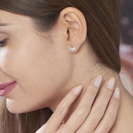 Boucles D'oreilles Puces Collinette Argent Blanc - Boucles d'Oreilles Coeur Femme | Histoire d'Or