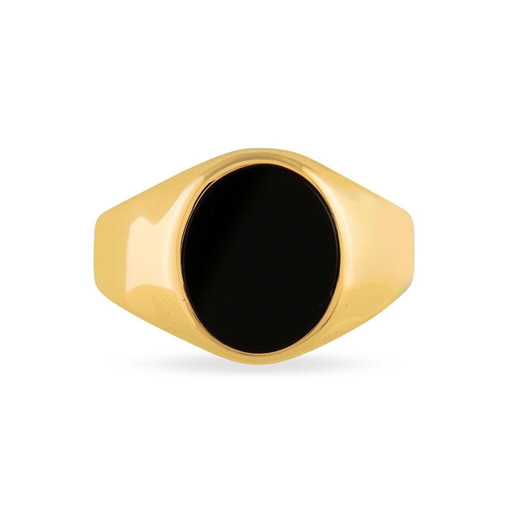 Chevalière Ovale Or Jaune Onyx - Chevalières Unisexe | Histoire d'Or