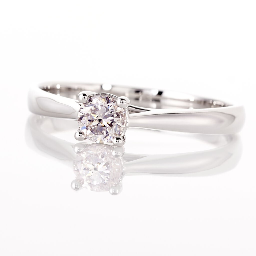 Bague Solitaire Victoria Or Blanc Diamant