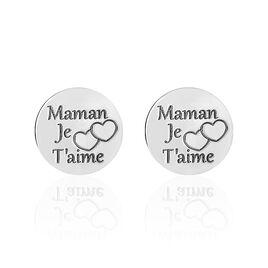 Boucles D'oreilles Puces Maman D'amour Argent Blanc - Boucles d'Oreilles Coeur Femme | Histoire d'Or