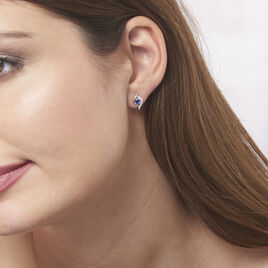 Boucles D'oreilles Puces Lydia Or Blanc Saphir - Clous d'oreilles Femme | Histoire d'Or